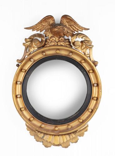 A Regency Style Giltwood Convex Wall Mirror