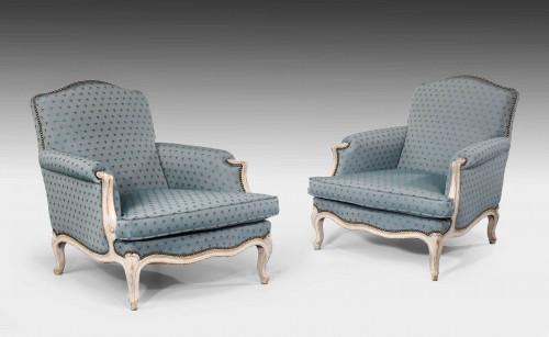 A Pair of Louis XV Design Painted Beech Fauteuils