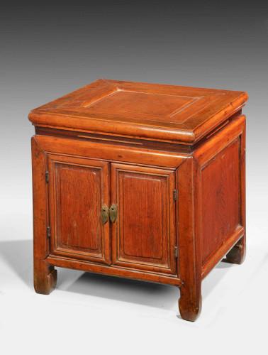 Small 19th Century Oriental Elm Enclosed Stool Table