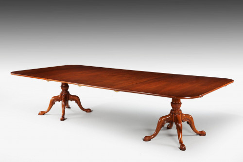 George III style Mahogany Two Pillar Dining Table