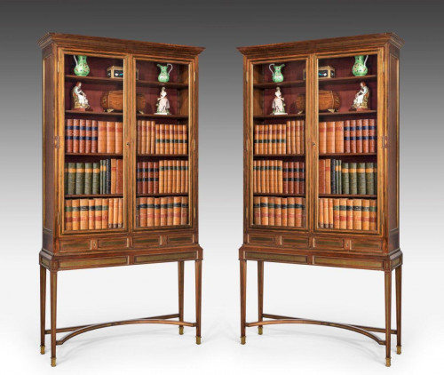 Pair of 20th Century Inlaid Russian Display Cabinets