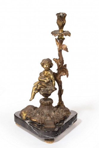 Late 19th century cast metal figural lamp
