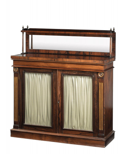 Regency Period Mahogany Chiffonier the Top Section with a Mirror