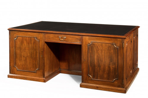 Chippendale Period Mahogany Desk of Unusual Form with Blind Drawers