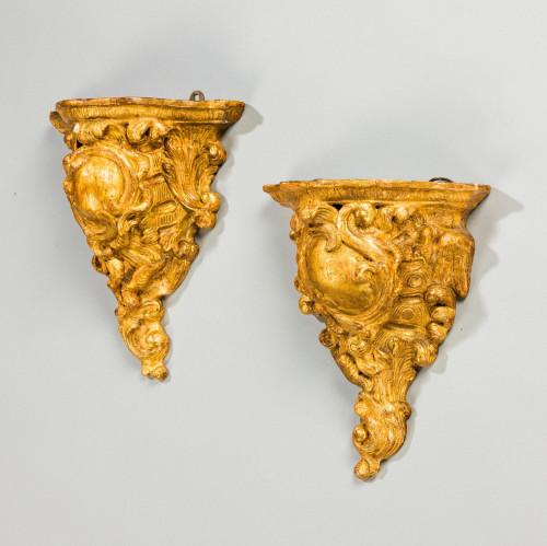Pair of Cornucopia Form Wall Brackets