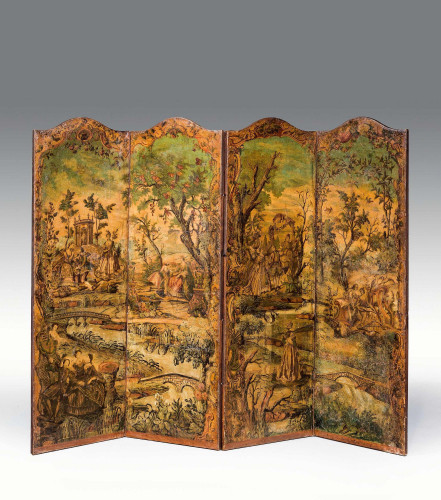 Early 18th Century European Four Fold Fire Screen
