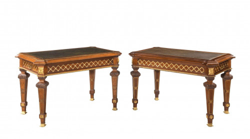 Pair of early 20th Century Mahogany Library Tables with Gilt Bronze Mounts