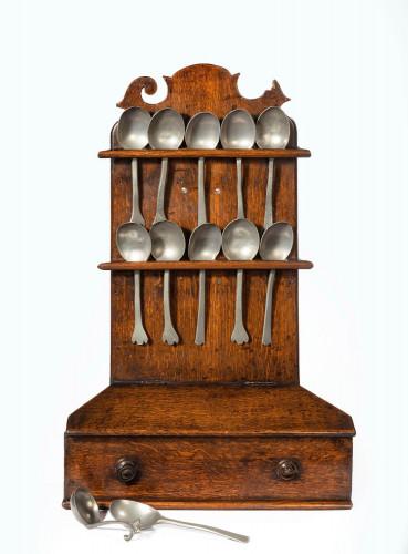 George III Period Oak and Pewter Spoon Rack