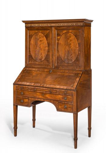 A Particularly Good Sheraton Period Mahogany Bureau Cabinet