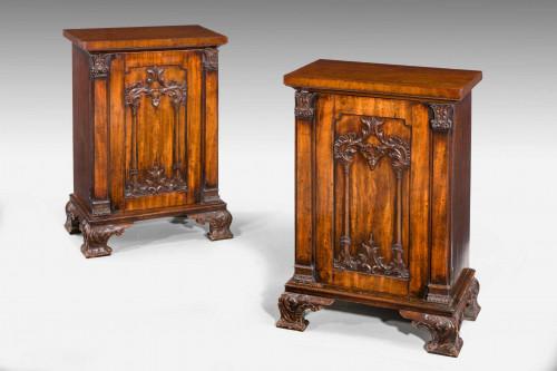Pair of Regency Period Mahogany Pedestal Cupboards