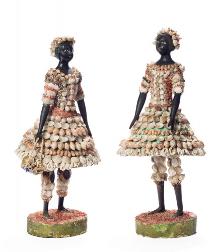 A Quite Rare Pair of 19th Century Shell Encrusted Children
