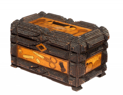 Late 19th Century Marquetry Inlaid Sewing Box with Raised Rim Decoration