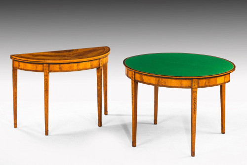 Pair of George III Period Satinwood Card Tables with Harebell and Leaf Decoration
