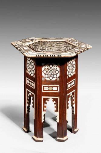A Hexagonal Bone and Hardwood Centre Table