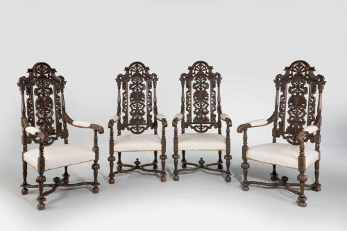 Set of Four 19th Century Carved Oak Armchairs