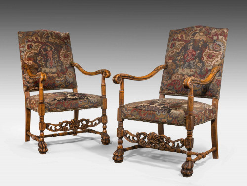 Pair of 17th Century Style Beech Framed Chairs