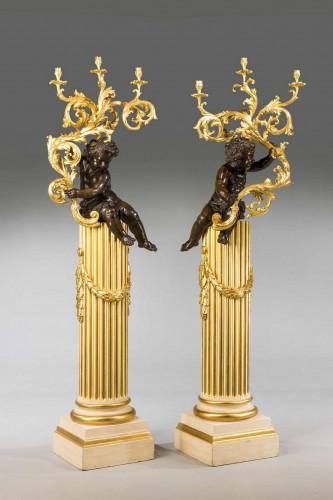 Pair of 19th Century Cold Cast Gilt Bronze Putti