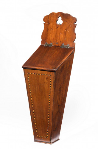 George III Period Mahogany Candle Box with Herringbone Inlay