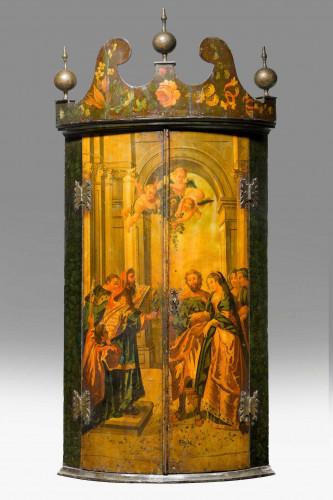 Late 18th Century Dutch Painted Corner Cupboard