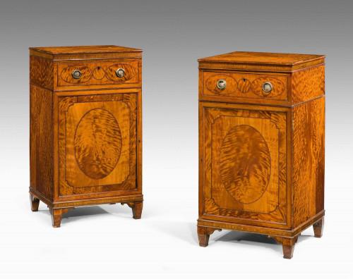 Pair of George III Period Satinwood Cupboards