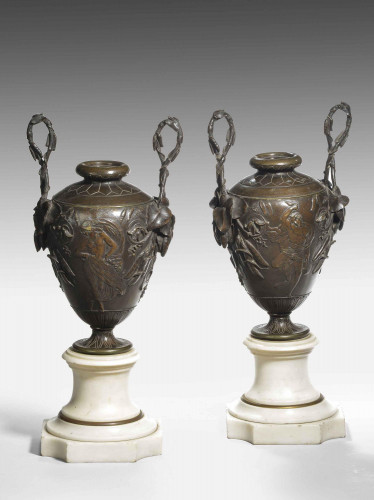 A Fine Pair of Patinated Bronze and Marble Urn Shaped Vases