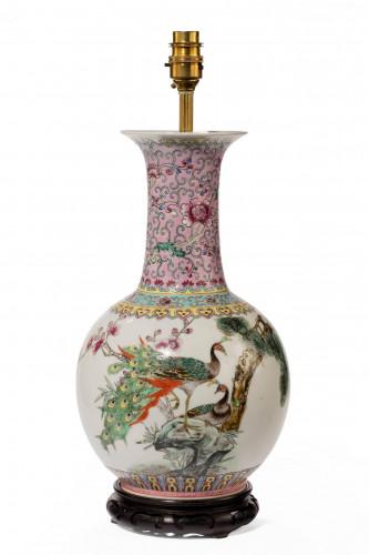 Mid 20th century famille verte vase lamp