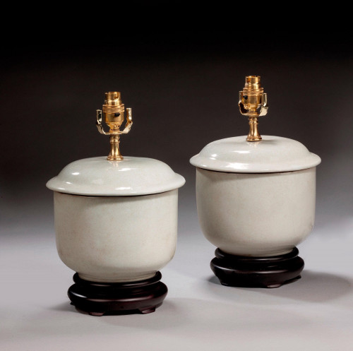 Pair of Antique White Clobbered Lamps