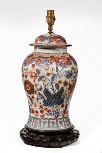 Mid 20th century porcelain lidded vase lamp in the Imari palette
