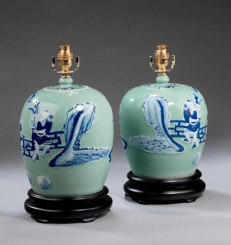 Pair of Oriental Ovoid Vase Lamps