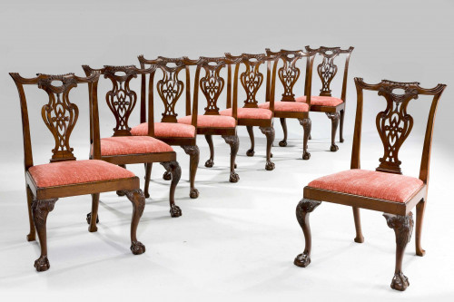 Set of Eight Chippendale Period Dining Chairs.