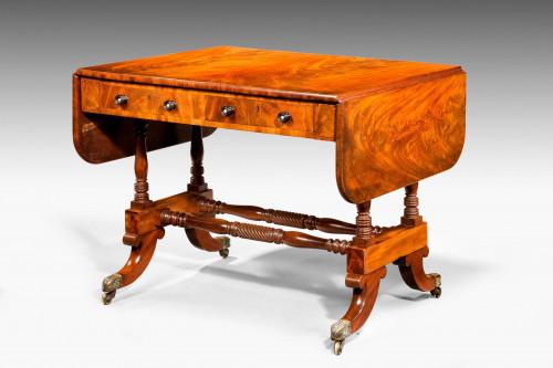 Regency Period Mahogany Sofa Table with Period Ebonised Knobs