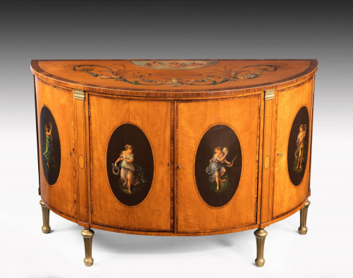 Late 19th Century Satinwood Demilune Commode