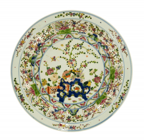 Mid 19th Century Porcelain Chinese Charger with Enamelled Decoration
