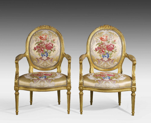A Fine Pair of Mid 19th Century French Giltwood Armchairs