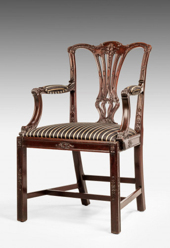 Chippendale Style Mahogany Elbow Chair