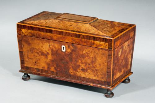A Regency Period Burr Yew Shaped Box