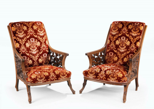 A Most Unusual and Fine Pair of 19th Century Mahogany Framed Easy Chairs.