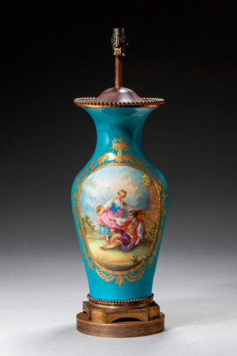 Late 19th Century Sevres Style Porcelain Vase Lamp