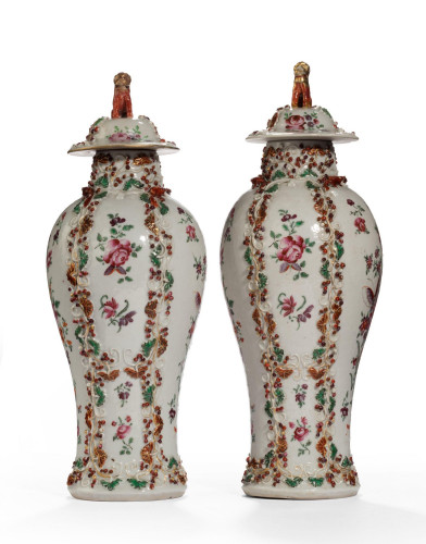 Pair of Late 19th Century Oriental Porcelain Baluster Shaped Vases