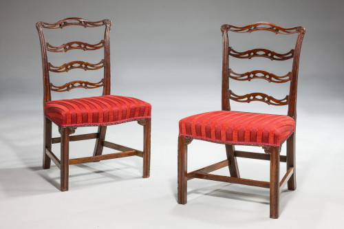 Pair of  Chippendale Period Ladderback Side Chairs