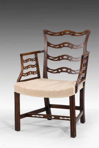 Late 19th Century Mahogany Frame Elbow Chair