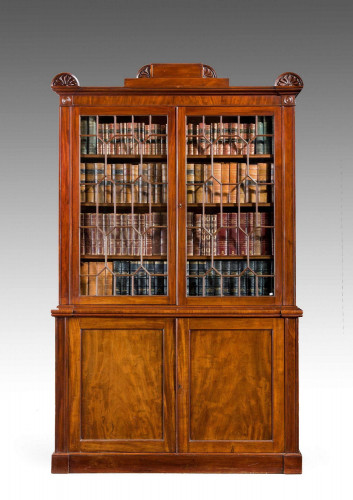 Regency Period Mahogany Two Door Bookcase