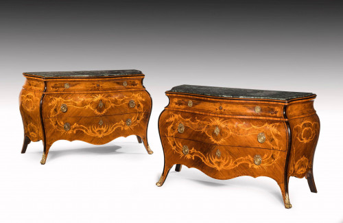 Pair of Northern European Walnut Parquetry and Marquetry Commodes