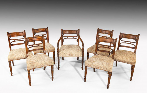 A Set of Seven Regency Period Mahogany Framed Chairs