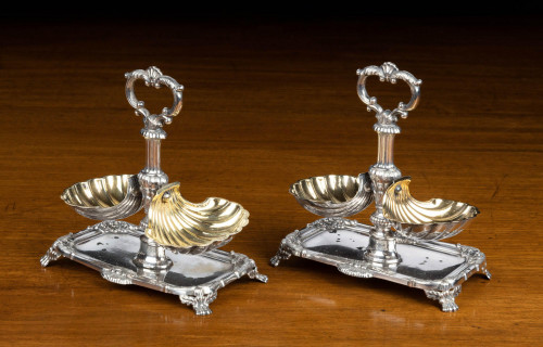 An Attractive Pair of Late 19th Century  Silver and Silver Gilt Table Salts