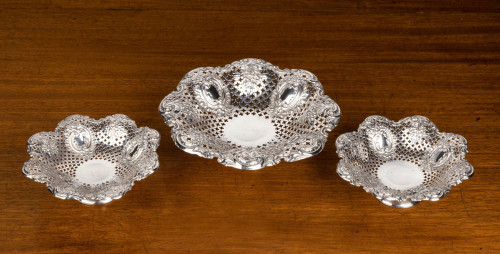 A Most Attractive Suite of Three Late 19th Century Silver Pierced and Fluted Dishes