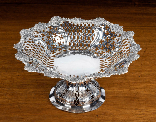 A Beautifully Pierced Late 19th Century Bowl on a High Central Stem