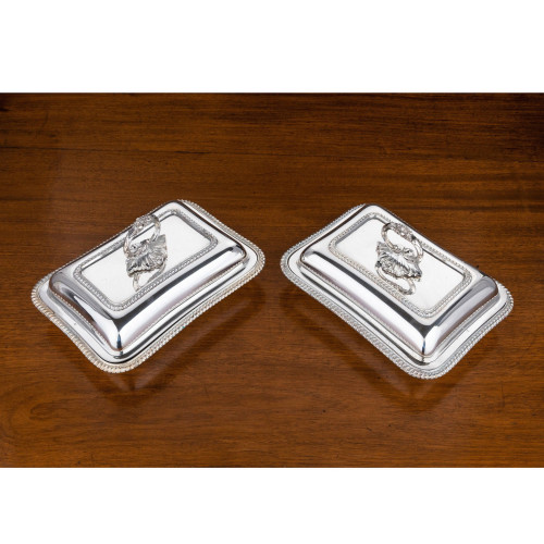 A Pair of Early 20th Century Rectangular Silver Plated Entrée Dishes