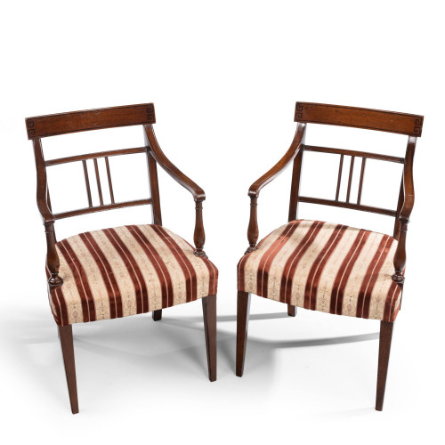An Attractive Pair of Late George III Period Elbow   Chairs
