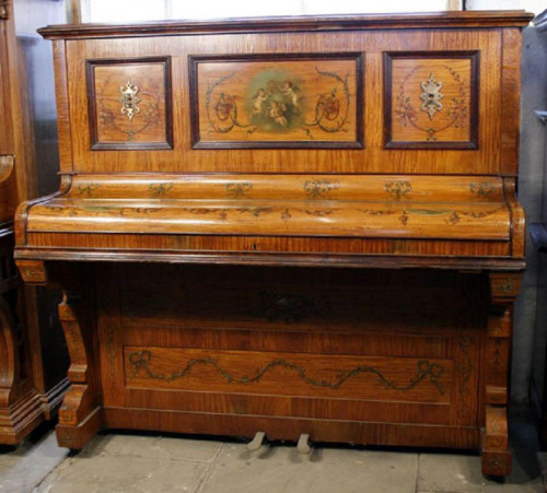 W T Payne Hand Painted Upright Piano with a Satinwood Case,
